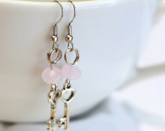 Light Pink Frosted Crystal Bead with Key Charm Fashion Earrings - womens jewelry - Heart Key Earrings - New Baby Mom Gift