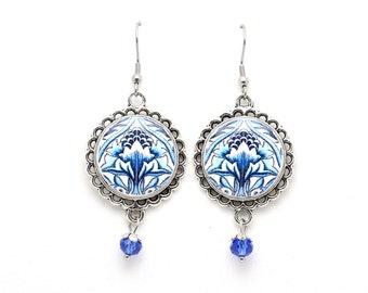 Elegant dangle earrings, portuguese blue tile earrings, flower earrings, portuguese gifts, ceramic jewelry, anniversary gifts for women