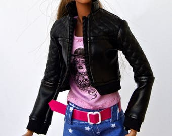 Barbie clothes - Barbie  leather jacket - doll clothes, Fashion Royalty doll clothes, Poppy Parker, 12 inches action figure, Barbie coat