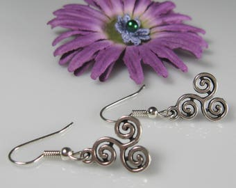 Small drop earrings, surgical stainless steel, nickel free earrings, simple silver earrings, swirl dangle earrings, petite spiral drops