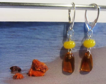 Amber Earrings 2.1 gr. Natural Baltic drop beads chandelier yellow egg yolk opaque and cognac transparent polished french clasp  gift