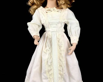 Vintage Porcelain Doll in a Creamy White Muslin and Lace Dress, Complete with Stand
