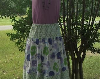lavendar and green floral skirt, midi skirt, modest skirt, gift for mom, full skirt, womens skirt, gift for her, womens clothing, long skirt