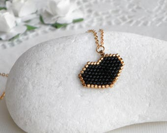 Love gift for her, For friend, Black heart necklace, Anniversary gifts for women, Black love necklace, Black pendant necklace