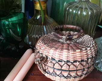 Vintage Hinged Basket with Handle/Basket Purse