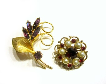 Vintage Rhinestone Pins Purple Flower Red Button Brooch Lot Pins Rhinestone Vintage Jewelry Gift for Her for Mom Under 15 Gift Idea