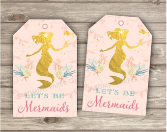 94 Mermaid Thank You Tags Rose Gold Little Mermaid Silhouette Favor Tags Gift Tags girl Pink and Gold