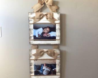 Frame, picture frame, pallet frame, picture holder, burlap bow frame, rustic picture frame, pallet picture frame, wood picture frame
