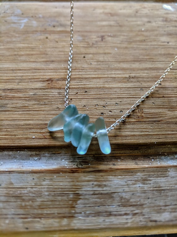 Sterling Silver Chain Sea Glass Bead Necklace // Vintage Glass // Sea Glass Beads // Bohemian // Unique Gift // Minimalist