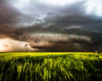 Storm Photography Print - Picture of Powerful Thunderstorm Pulling Wheat Toward It in Southwest Oklahoma Weather Artwork Home Decor