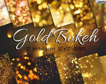 Gold bokeh paper, gold texture, glitter, pattern, sparkle, golden lights, twinkle glow, christmas, party lights, party background