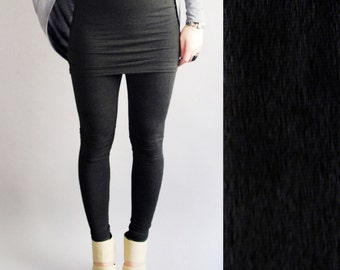 Black Lycra Leggings with Built in Skirt  in  MADE To ORDER