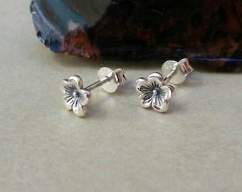 Small Simple Cherry Blossom Stud Earrings,Cherry Blossom Post Earrings, Simple Studs,Blossom Earrings, Bridesmaid Gift, Flower Girl Earrings