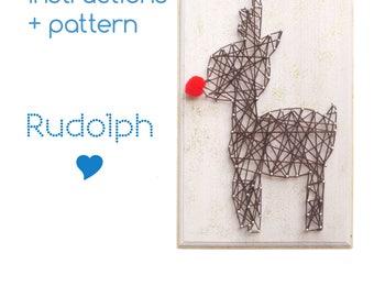 String art Pattern + Instructions - Rudolph DIY template, String art Rudolph, cabin decor, Download String Art Pattern, Woodland décor