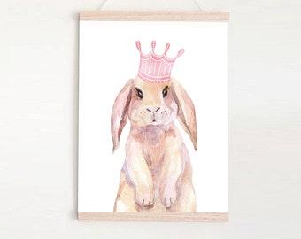 Princess Bunny - Children's art. Watercolor rabbit with crown. A4 Print