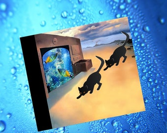 double square card with cats a bit surreal: our aquarium