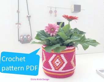 Crochet planter, Tapestry crochet pattern, Flowerpot pattern, Crochet basket pattern, Jar cover tutorial, PDF pattern