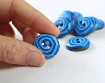 Polymer clay handmade sweet spiral buttons-set of 10 blue buttons-sewing accessories-gift for mom-grandmother-sister-mother's day