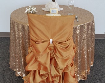 Gold Wedding Chair Covers, Ruffled Wedding Chair Covers Bustle, Fancy Wedding Chair Covers, Ruched Chair Covers