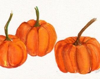 Original Pumpkin watercolor painting, Fall pumpkin wateroclour, pumpkin kitchen wall art, orange watercolor, Farmhouse decor 5 x 7,