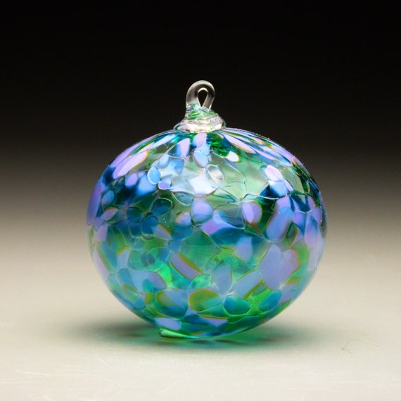 Hand Made Blown Glass Christmas Ornament In Tones Of Lavender