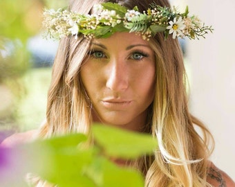 Botanical greenery flower crown spring Headdress Bridal Flower halo foliage vine hair wreath wedding accessories leaf headwreath celtic