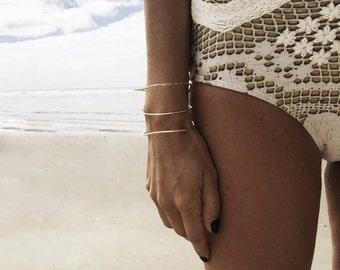 Triple Band Organic Bracelet - Handmade Jewelry - Hammered Bracelet