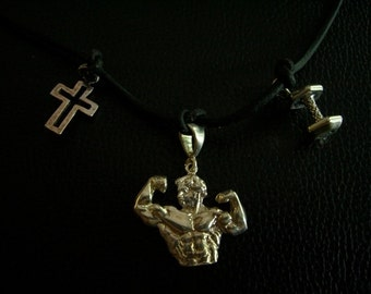 Bodybuilder Themed Sterling Silver Charms Necklace