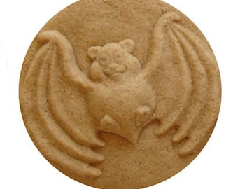 Halloween Bat Cookie Mold for Halloween Baking Desserts and Arts & Crafts hand built Stoneware  Adorable, Goofy Design in High Relief