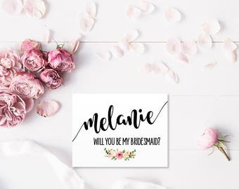 Will you be my Bridesmaid? Personalized Greeting Card Note Card - Maid of Honor, Matron of Honor, Bridesmaid Ask Card with Metallic Envelope