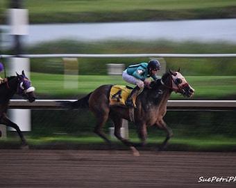 Horse Racing Photos, Horse Racing Prints, Running in the rain, Sports Photography, Racing Photos, Horse Photography, Free Shipping