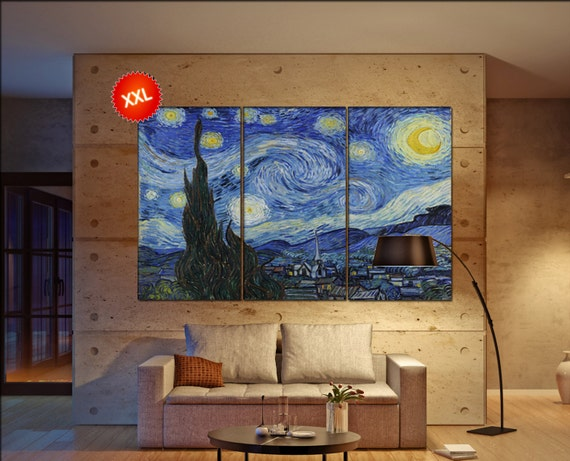 LARGE 3 or 5 panels / boards wrapped stretched canvas wall art print Vincent van Gogh Starry Night canvas wall art ,Giclee Art fine art