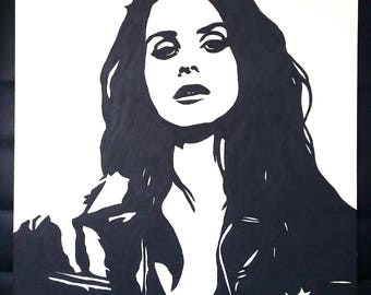 Lana Del Rey portrait original painting stencil feminist women