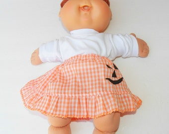 """Cabbage patch 14 inch doll clothes, HANDMADE CLOTHES, also fits 15"""" bitty baby, jack o lantern skirt and white t shirt"""