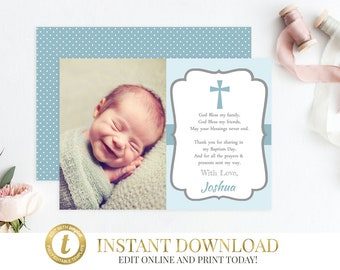 Boy Baptism Thank You Card, Baptism Thank You, Christening Thank You, Boy Baptism, Thank You Cards, Baptism Card, First Communion, Blue