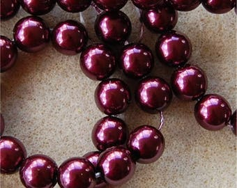 PRECIOSA Pearl Beads, 10mm, Burgundy, 17965, sold in units of 50 pearls.