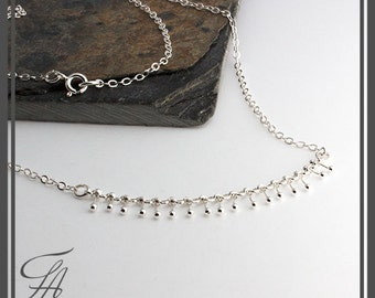 Silver Necklace Chunky Necklace, Handmade Necklace, Unique Dots, Statement Necklace, Lariat Necklace, Minimalist jewelry, Dainty Jewelry