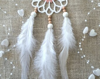 Mini white pink dream catcher car dreamcatcher crochet doily dream catchers feathers boho dreamcatcher wedding decor wrap packing decor