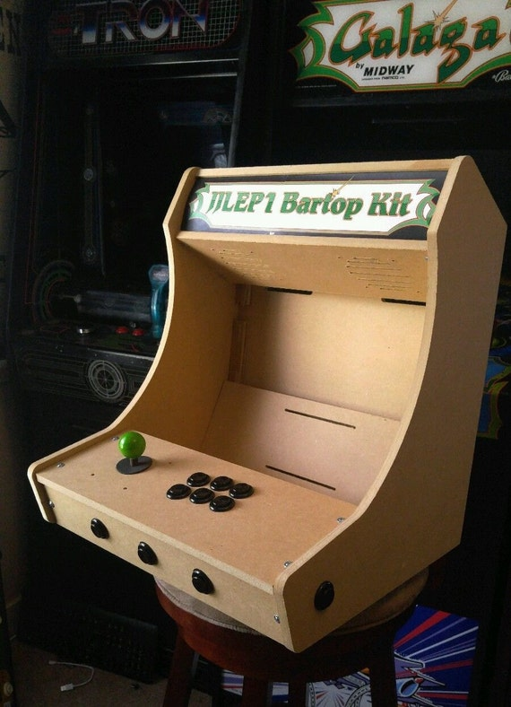 Easy To Assemble 1 Or 2 Player Bartop / Tabletop Arcade Cabinet DIY Kit W/  Marquee Holder Flat Pack MDF HAPP Joystick Mounting Pattern