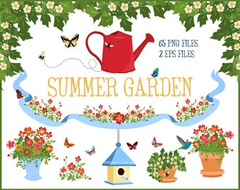 Summer Garden ClipArt - Honey Bee, Hummingbird, Butterfly, Birdhouse, Potted Plants, Floral Wreath and Greenery | Includes Vector EPS Files