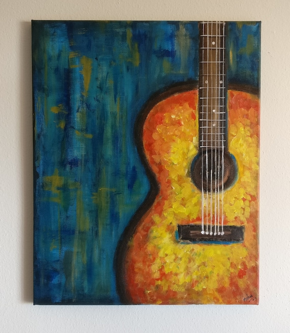 guitar painting original guitar abstract painting colorful. Black Bedroom Furniture Sets. Home Design Ideas