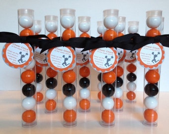 Cheerleader, Cheer Team, Cheer Chick of the Week Gumball Tube Favors, Personalized Tags and Team colors, Set of 12