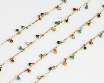 Multicolor Dangly Enamel Chain with Coin Drops Brass 5mm By the Yard