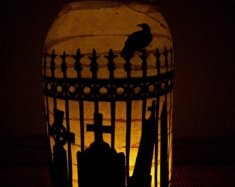 Grungy Primitive Halloween Cemetary Lantern Light Luminary Table Centerpiece Mantel Camping Wedding Decor Decoration Gift