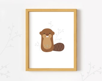 Printable Beaver wall art print woodland animal nursery decor PDF download
