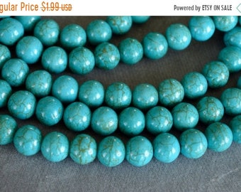 25% off SALE Turquoise Beads, 8mm, Round Synthetic Turquoise Stone Beads, 20 Beads, Stone, Gemstone, Hole 1mm