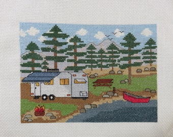 PATTERN - Camping by the Lake with Trailer  - Counted Cross Stitch