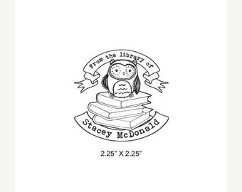 Mothers Day Sale Cute Baby Owl Sitting on Books With Banners Personalized Ex Libris Bookplate Rubber Stamp M06