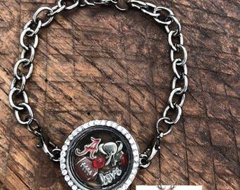 Alabama Crimson Tide Gunmetal Black Floating Locket Bracelet, Game Day Jewelry, SEC, Football Bracelet, Bama Jewelry