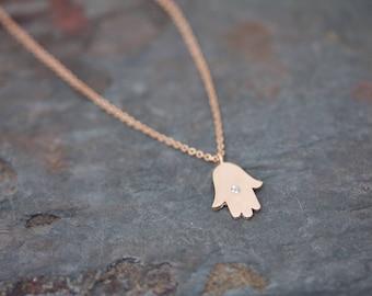 Hamsa with single stone necklace